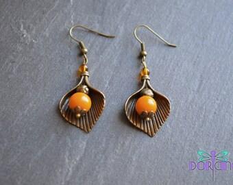 Handcrafted yellow glass bead earrings