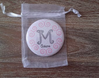 "Pink Pocket mirror ""Initial"""
