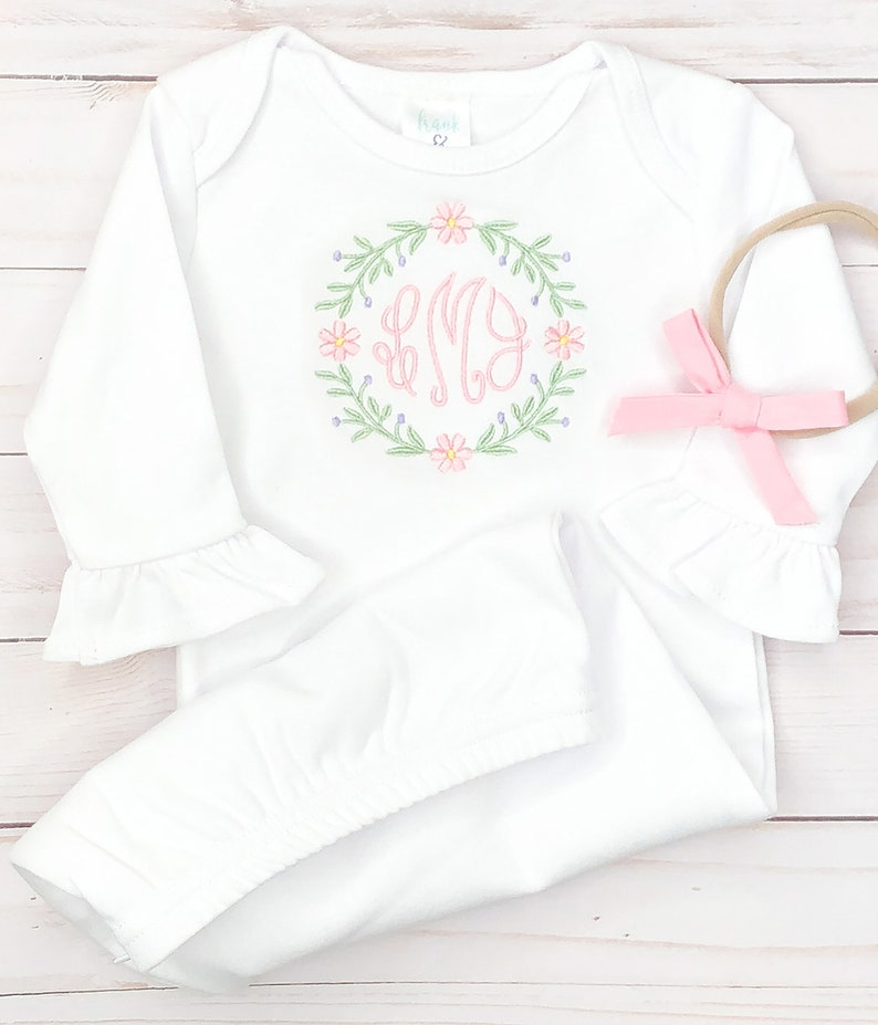 ruffle baby personalized baby gown baby shower monogram set baby girl monogram gown newborn baby girl gown going home monogram outfit