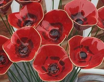 Ceramic flowers Ceramic red poppy