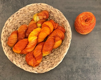 PUMPKIN of the Circe, undyed wool, different types of wool, sock wool / merino. dyed with acid paints
