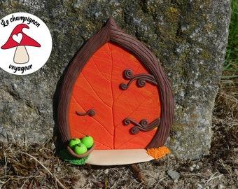 Fairy Door Orange Leaf - Height: 11.1 cm - Polymer Paste (Fimo)
