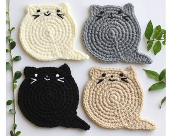 Fat Cat Coasters Lover Gift Crochet Set Birthday Christmas Housewarming Crazy Lady Under 10 Usd