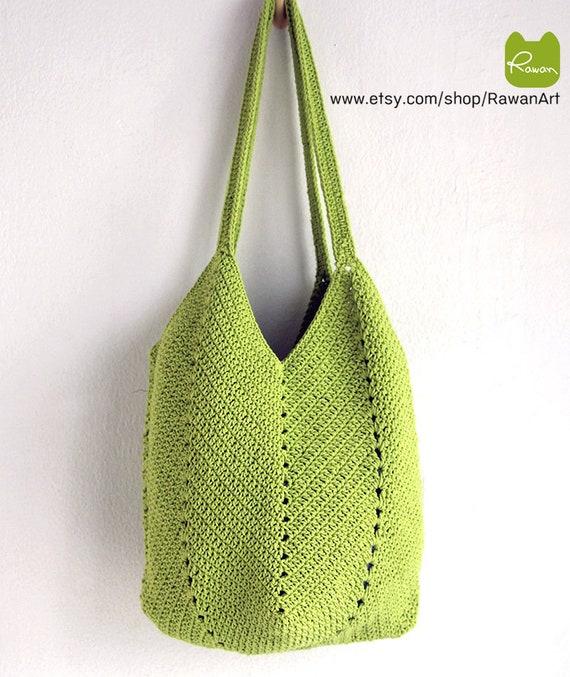 670d7daf7fcd Green crochet beach bag Green crochet market bag Boho