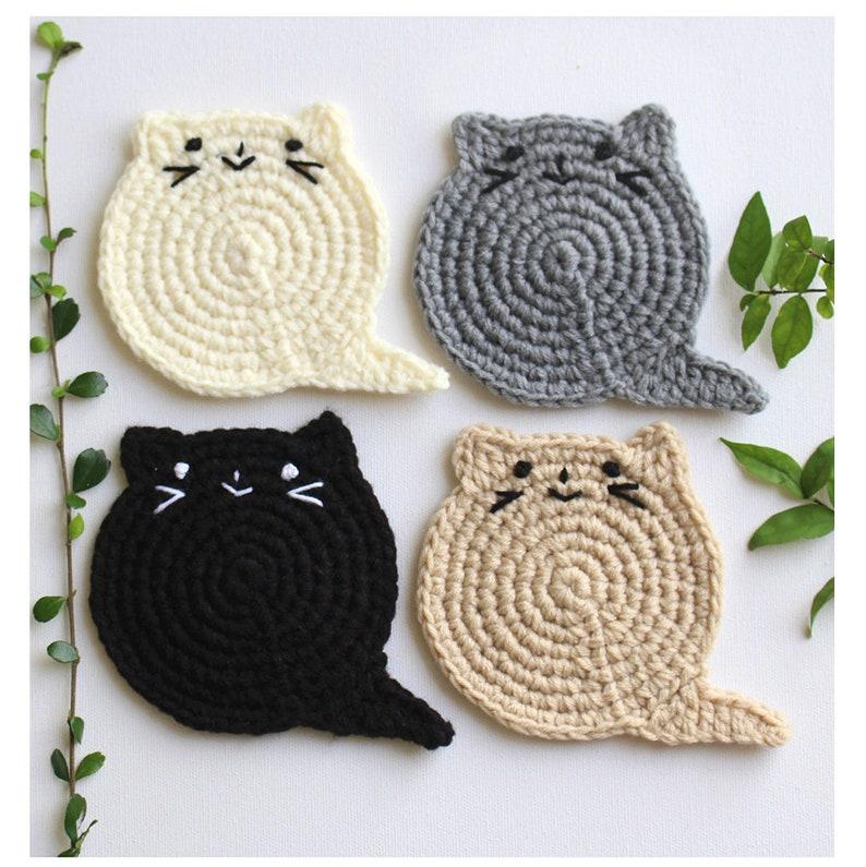 Fat Cat Coasters Kat Minnaar Cadeau Gehaakte Kat Etsy