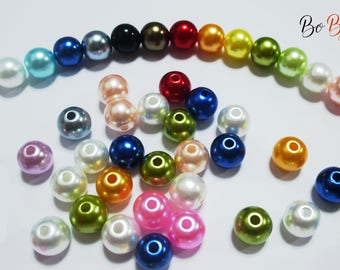 50 Pearlescent glass beads round mixed colors. 8mm