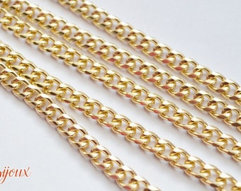 Gold curb link chain. 8x5mm. 50 cm