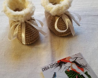 Baby booties knitted wool light brown and white cream in size 3 months
