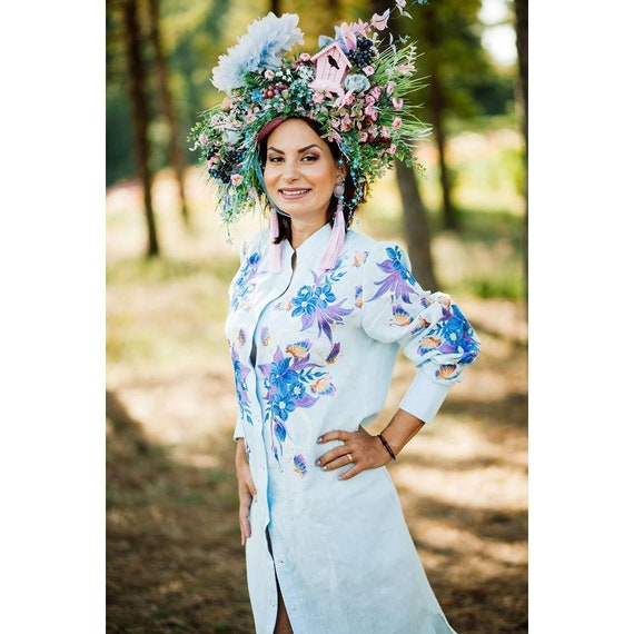 embroidered Linen embroidery Ukrainian with woman shirt long floral Blue embroidered sleeves dress caftan Fashionable long with dress q7q4Sw