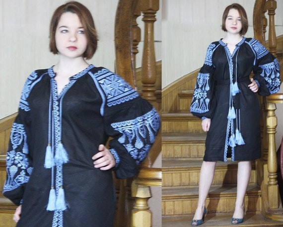 with sleeves Black women wish long dress vyshyvanka linen Embroidered embroidery Ukrainian embroidered Black kaftan dress for bohemian 8I6xRwAq7n