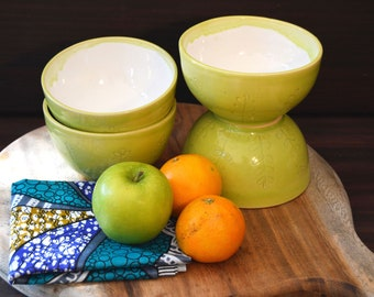Lime Green Bowl set of 4, Gift Ideas, Ceramic Bowls, Handmade Pottery