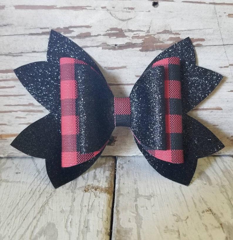 Glitter bow Hair accessory Buffalo plaid. Faux leather bow Metal alligator clip
