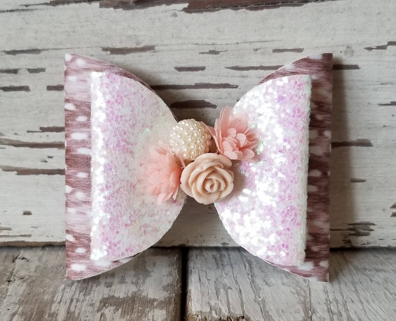 Flower Deer Bow Faux Leather Bow Oversized Bow Girl/'s Faux Leather Bow Fawn Bow Clip Bow Bow Girl Bow