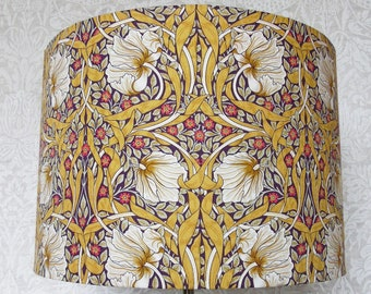 Mustard yellow purple floral Pimpernel Liberty Tana Lawn Luxury Designer William Morris inspired print Lampshade