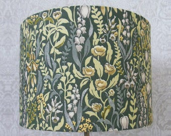 Forest green grey yellow floral Kelmscott Luxury Designer William Morris inspired print Lampshade