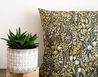 "Kelmscott Moss floral 18"" x 18"" Square william morris inspired print Cushion green grey earth tones"