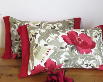 "Red Art Deco Ruby floral poppy 12"" x 18"" william morris inspired designer square Cushion pillow"