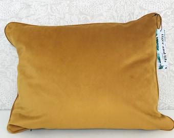 "Luxury Mustard Yellow Velvet 12"" x 18"" Rectangle Designer Cushion Pillow Piped and Zip"