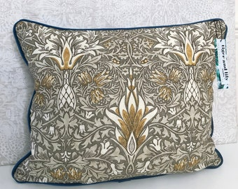 """Pewter Gold Snakeshead William Morris 12"""" x 18"""" Rectangle Cushion with Blue Piping, Zip & Blue Velvet Back pillow navy"""