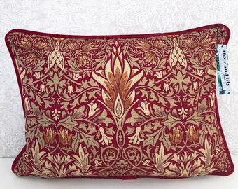 "Crimson Snakeshead William Morris 12"" x 18"" Rectangle Cushion with Self Piping, Zip & Red Velvet Back pillow"