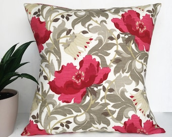 "Red Art Deco Ruby floral poppy 18"" x 18"" william morris inspired designer square Cushion pillow"