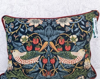 """Indigo William Morris Strawberry Thief 12"""" x 18"""" Rectangle Cushion with Red Self Piping, Zip & Red Velvet Back pillow"""