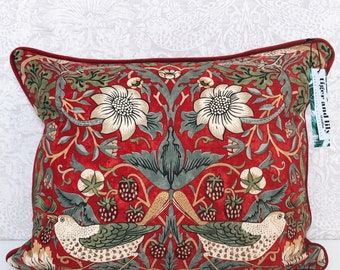 """Crimson Red William Morris Strawberry Thief 12"""" x 18"""" Rectangle Cushion with Red Self Piping, Zip & Red Velvet Back pillow"""