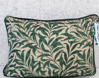 """Willow Bough Major William Morris 12"""" x 18"""" Rectangle Cushion with Green Piping, Zip & Dark Green Velvet Back pillow"""