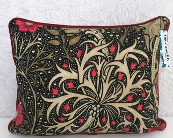 """Seaweed Ebony/Poppy William Morris 12"""" x 18"""" Rectangle Cushion with Red Piping, Zip & Red Velvet Back pillow"""
