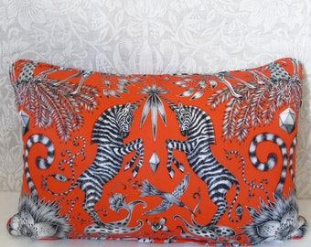 "Bright Orange/Flame Zebra Clarke and Clarke Kruger Animalia Emma J Shipley Designer 12"" x 18"" Statement Cushion Pillow"