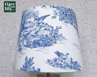 """25cm Empire Blue Toile de Jouy Lampshade with 4"""" shade carrier"""