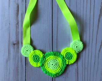 Crocheted neon necklace