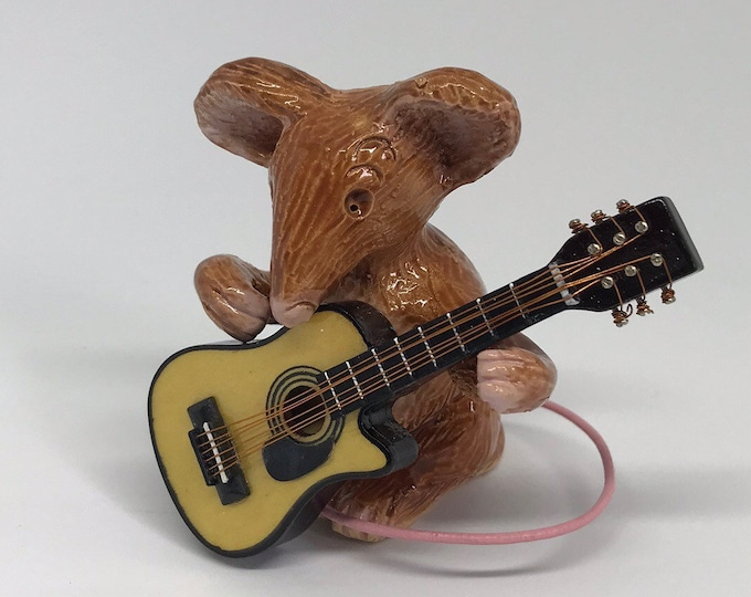 Featured listing image: Musical Monty Mouse playing his guitar handmade in Sussex. Lovely gift for a musical person for a Birthday, Christmas or treat yourself.