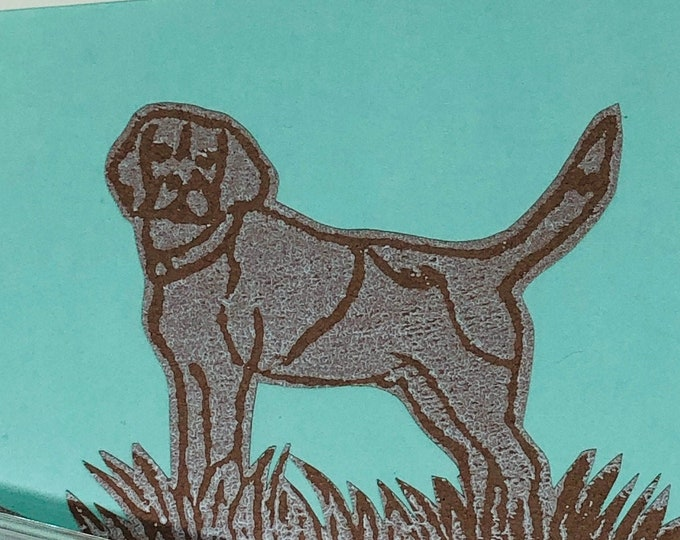 Beagle Dog Hand Printed Card, Handmade Greetings Card, Greeting Card, Love Dogs, Birthday Card, Anniversary, Pets, Woof.