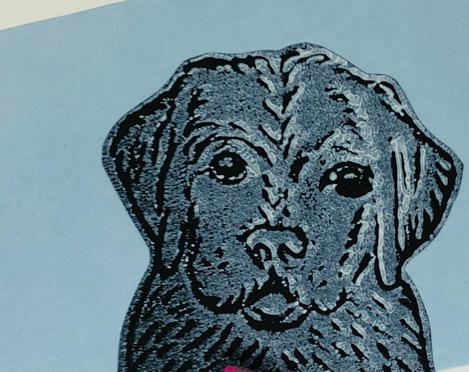 Labrador Dog Hand Printed Card, Handmade Greetings Card, Love Dogs, Birthday Card, Anniversary, Easter, Fathers day, Pet.