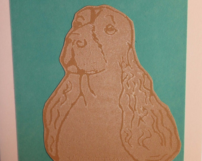 Cocker Spaniel Greeting Card, Blank inside, Hand printed & paper cut on to green background, love dogs, pooch, fur baby, pet, woof, Birthday