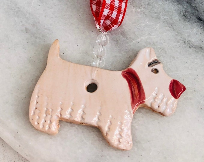 West Highland Terrier, Westie Dog, Hanging Ornament, Pooch, Pet Friend, Pottery Dog, Home Decoration, Birthday, Anniversary, Christmas.