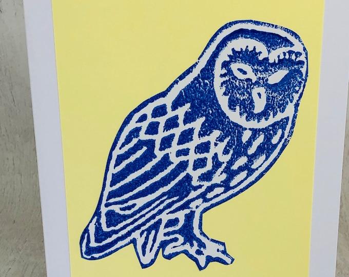 Owl Hand Printed Card, Handmade Bird Greetings Card, Hand Printed Birds  Greeting Cards, Love Dogs, Birthday Card, Anniversary, Owls.