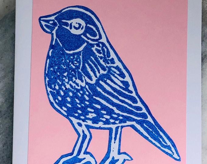 Bird Hand Printed Card, Handmade Greetings Card, Love Birds, Blue Bird Birthday Card,  Pink & Blue, Anniversary, Fathers Day Gifts.