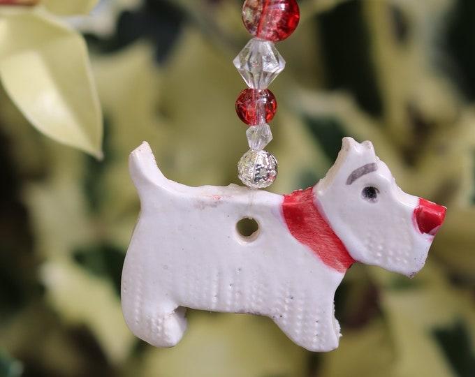 Christmas Decoration, Handmade Ceramic West Highland Terrier, Xmas Gift, Stocking Filler, Secret Santa, Pottery Dog, Hanging Decor, Home.