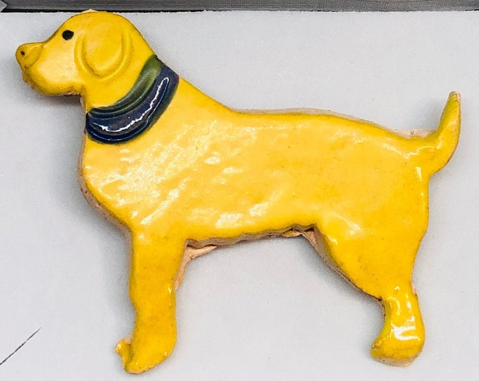 Pottery Labrador Brooch, Golden Retriever Brooch, Handmade Fun Gifts Ceramics Badge, Love Labradors, Dogs, Clay Dog, Pets, Fired in my kiln.