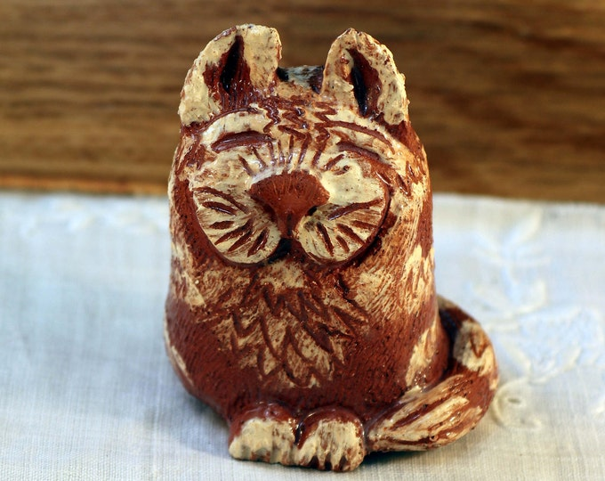 Ginger Miniature Pussy Cat Pottery Cat, made with terracotta clay and white slip, with a big purring smile. Kitty Cat, Kitten, Love Cats