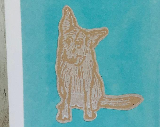 Alsatian Dog Greeting Card, German Shepherd Hand Printed Card, Handmade Greeting Cards, Love Dogs, Woof, Birthday Card, Anniversary, Pets.
