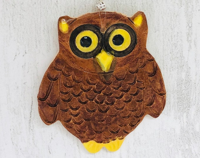 Owl, Handmade Pottery Ornament, Bird, Home Decoration, Gift for Her, Him, Stocking Filler, Secret Santa, Birthday, Anniversary, Christmas.