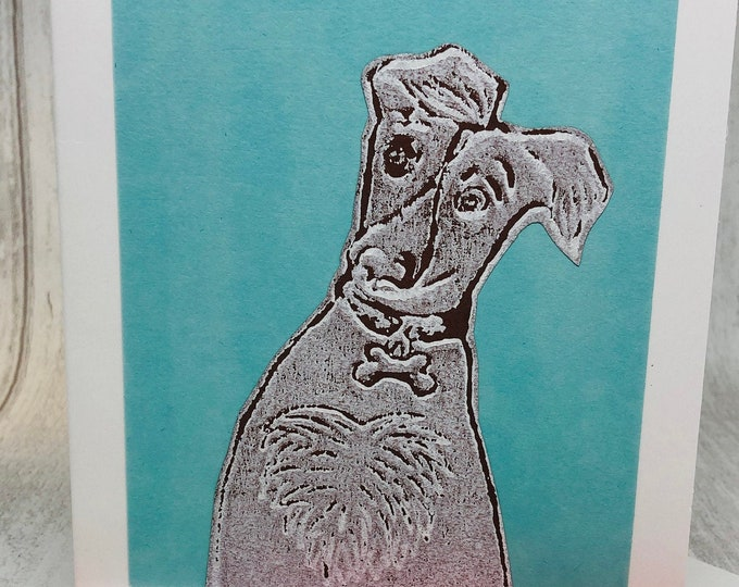 Whippet Dog Hand Printed Card, Handmade Greetings Card, Love Dogs, Birthday Card, Anniversary, Easter, Fathers day, Pet.