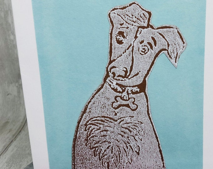 Whippet Dog Hand Printed Card, Handmade Greetings Card, Love Dogs, Pet Dogs, Woof, Fur Baby, Birthday Cards, Anniversary, Fathers day.
