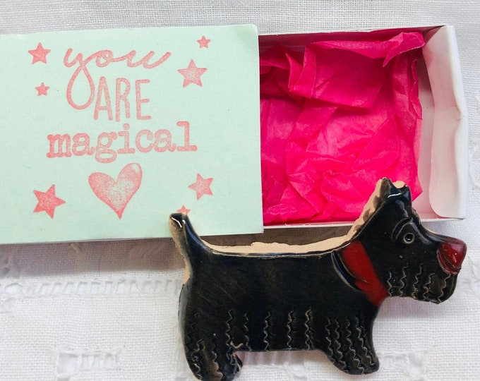 Scottish Highland Terrier Brooch, Scottie, Badge, Handmade, Clay, Dog, Dogs,  Anniversary, Birthday, Gift for her, Him, Mothers Day, Easter.