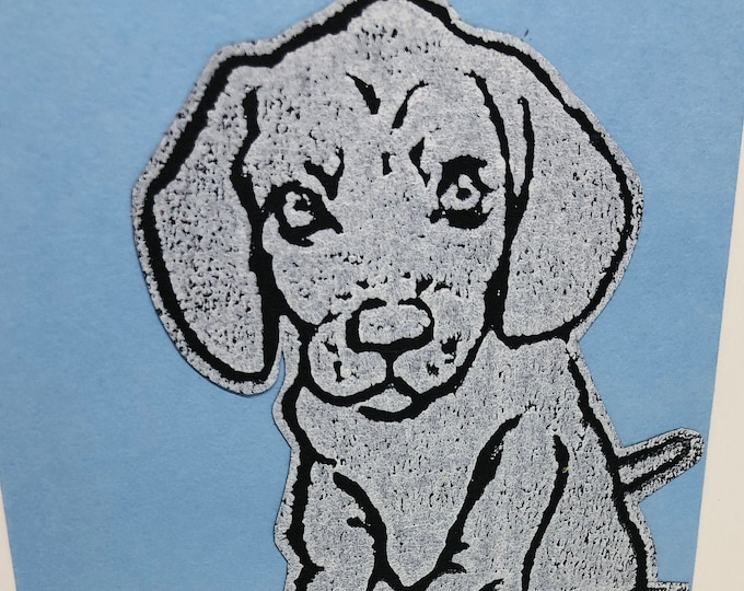 Dachshund Dog Hand Printed Card, Handmade Daxi Greetings Card, Love Dogs, Birthday Card, Anniversary, Easter, Fathers day, Pet