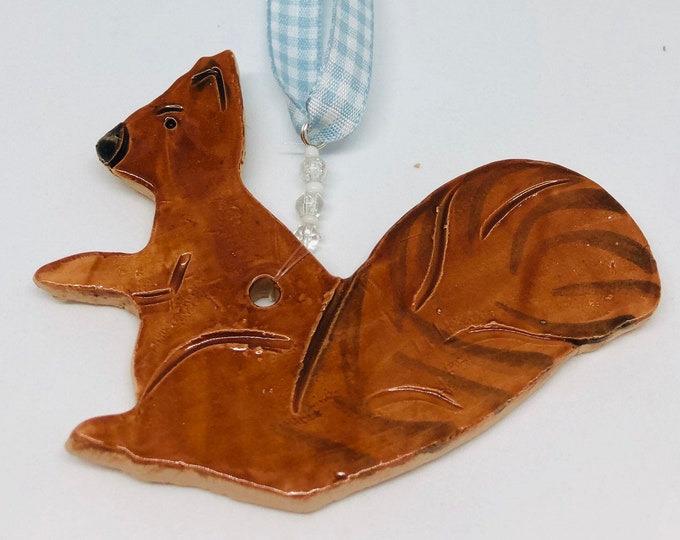 Squirrel, Ceramics, Blue Ribbon, Wildlife, Handmade Pottery Ornament, Birthday, Anniversary, Christmas, Gift for Him, Boyfriend, Home Decor.