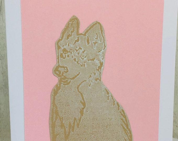 Siberian Husky Dog Greeting Card, Huskies Hand Printed Card, Handmade Greeting Cards, Love Dogs, Woof, Birthday Card, Anniversary, Pets.